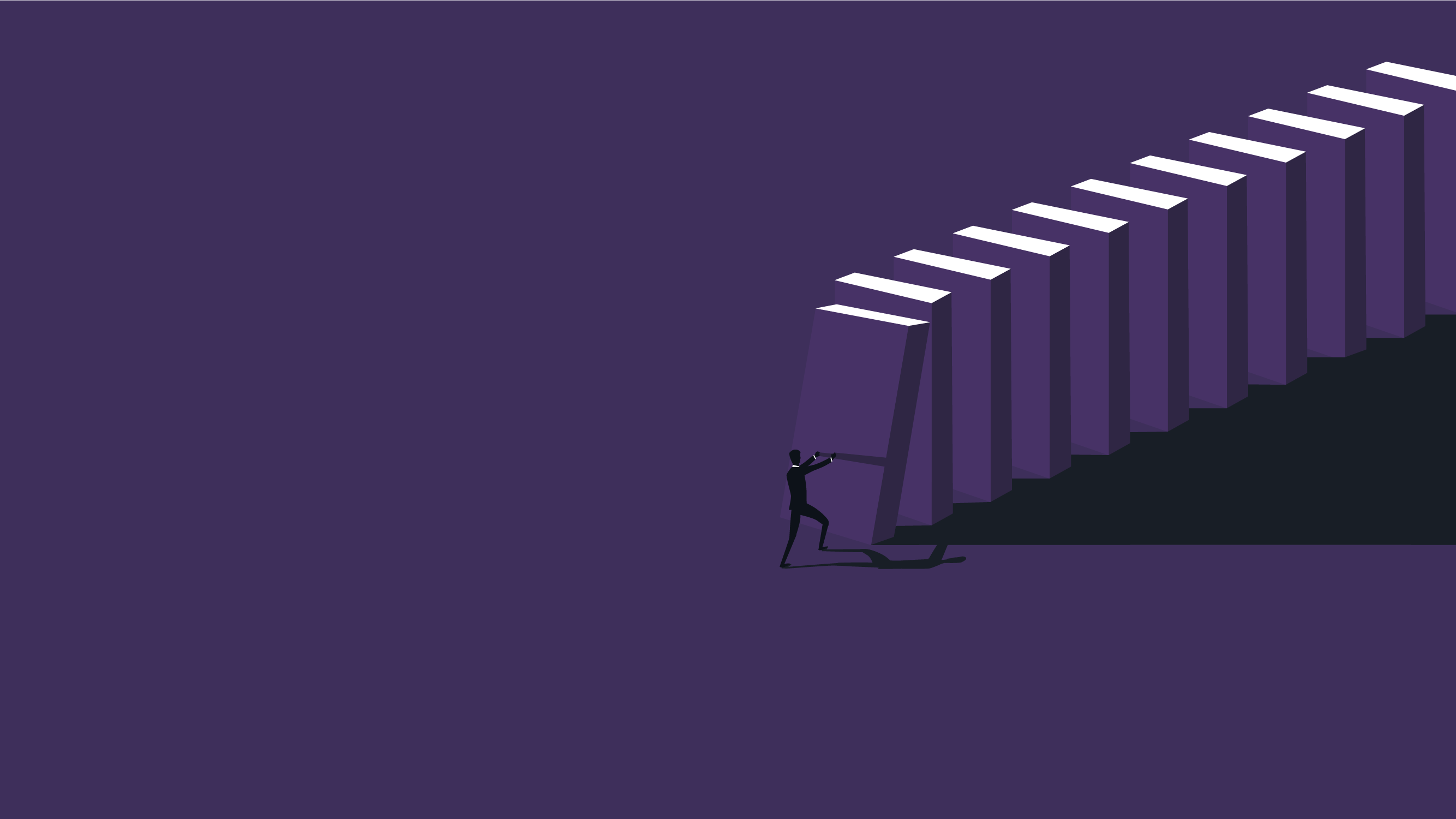 Illustration of a risk manager trying to stop dominoes from falling. The illustration is set against a dark purple background