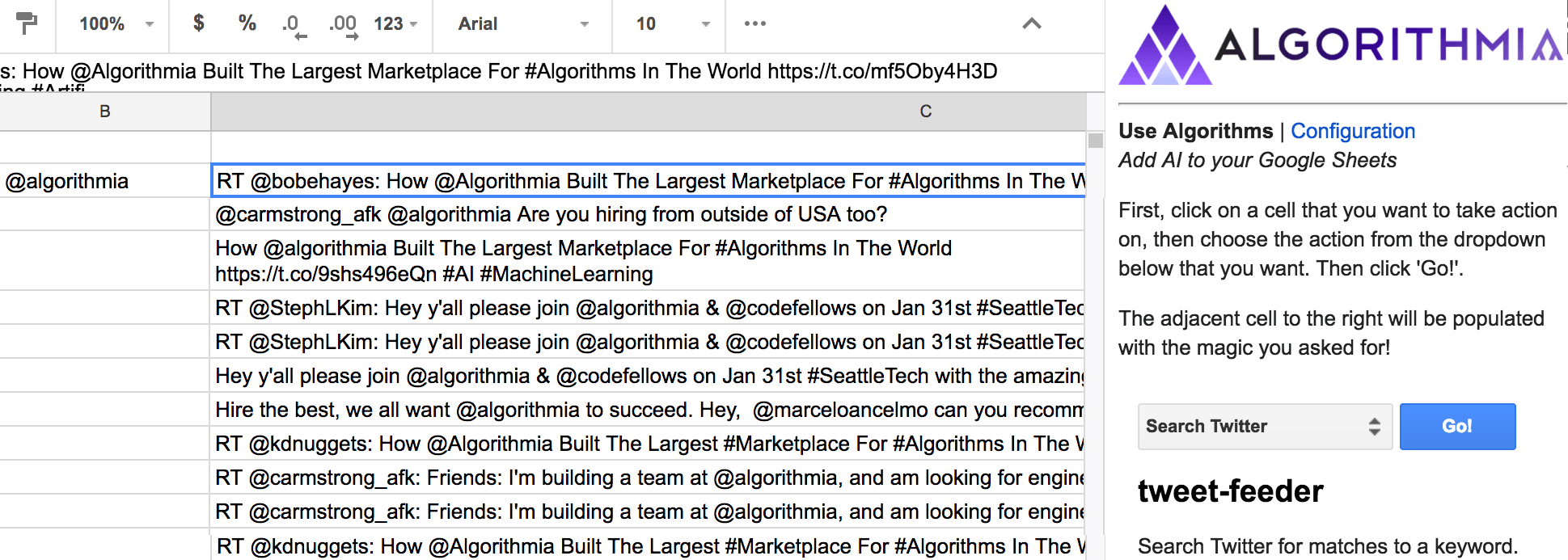 Use Algorithmia within Google Sheets