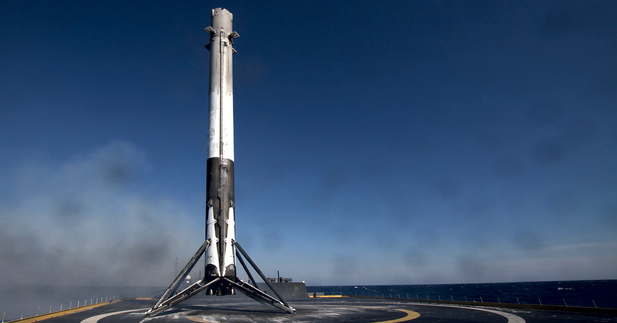 Space X Falcon 9 landing on the drone ship